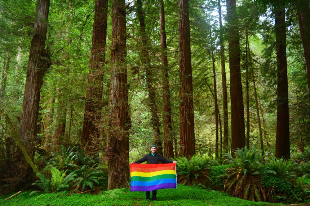 Meyer holds a rainbow flag at Redwood National Park in Northern California. (Courtesy of Mikah Meyer)