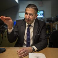 "BU School of Public Health Dean Sandro Galea talks about his new book ""Well."" (Jesse Costa/WBUR)"