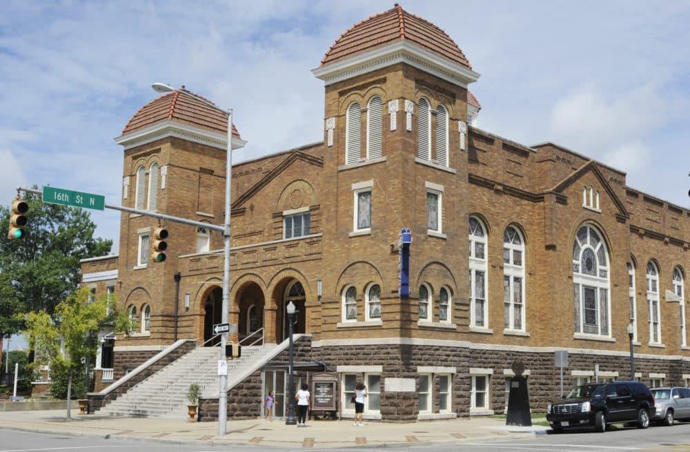 Visitors look at 16th Street Baptist Church in Birmingham, Ala. (Jay Reeves/AP)
