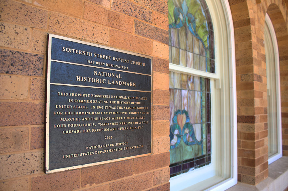 A plaque near the entrance of 16th Street Baptist Church in Birmingham, Ala. (Ciku Theuri/Here & Now)