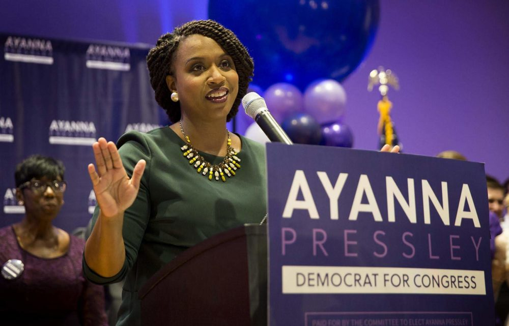U.S. Rep. Ayanna Pressley was one of many first-time congressional candidates who used ActBlue to compete in a new way. (Robin Lubbock/WBUR)