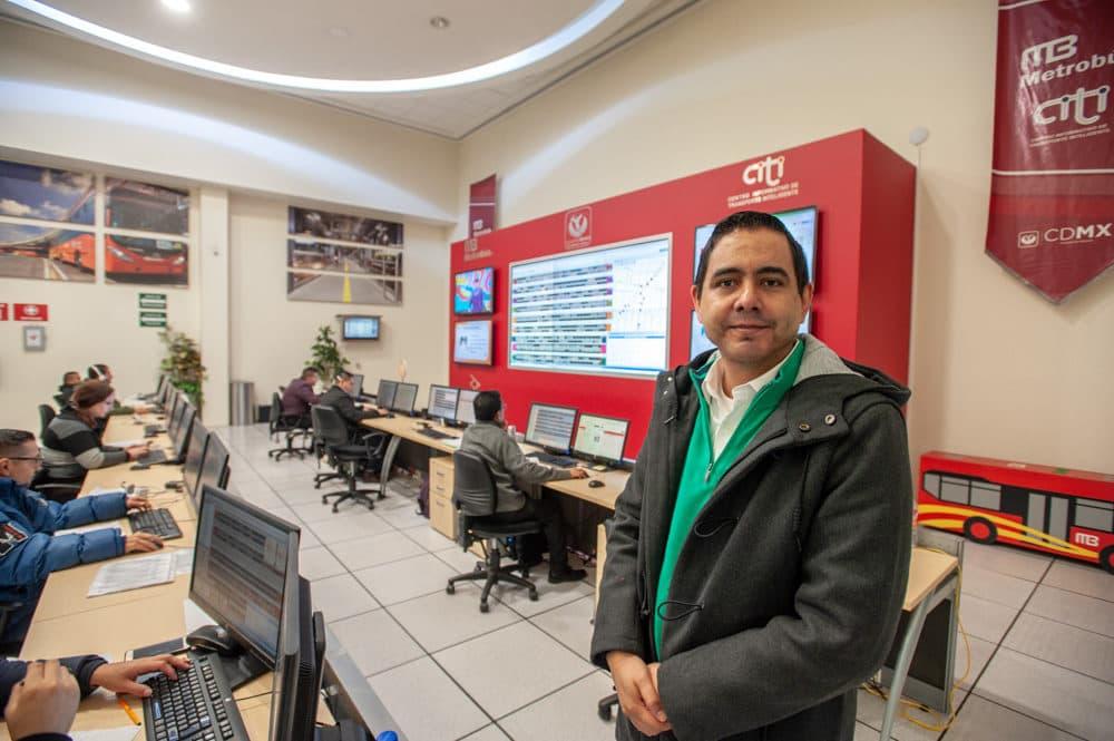 Diego de la Torre manages Metrobús' control center. (Keith Dannemiller for WBUR)