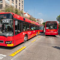 The Mexico City Metrobús is a bus rapid transit system that has served the city since Line 1 opened on June 19, 2006. It now has seven lines. (Keith Dannemiller for WBUR)