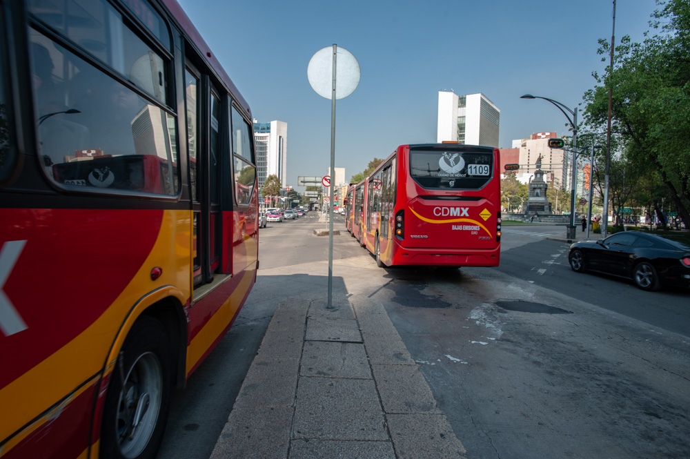 The Mexico City Metrobús is a bus rapid transit system. Here, buses cruise in their own lanes along Avenida Reforma. (Keith Dannemiller for WBUR)