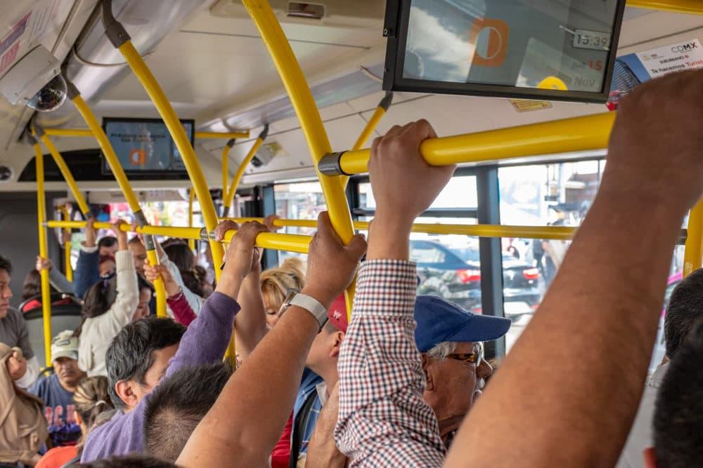 Passengers on Line 4 (Keith Dannemiller for WBUR)