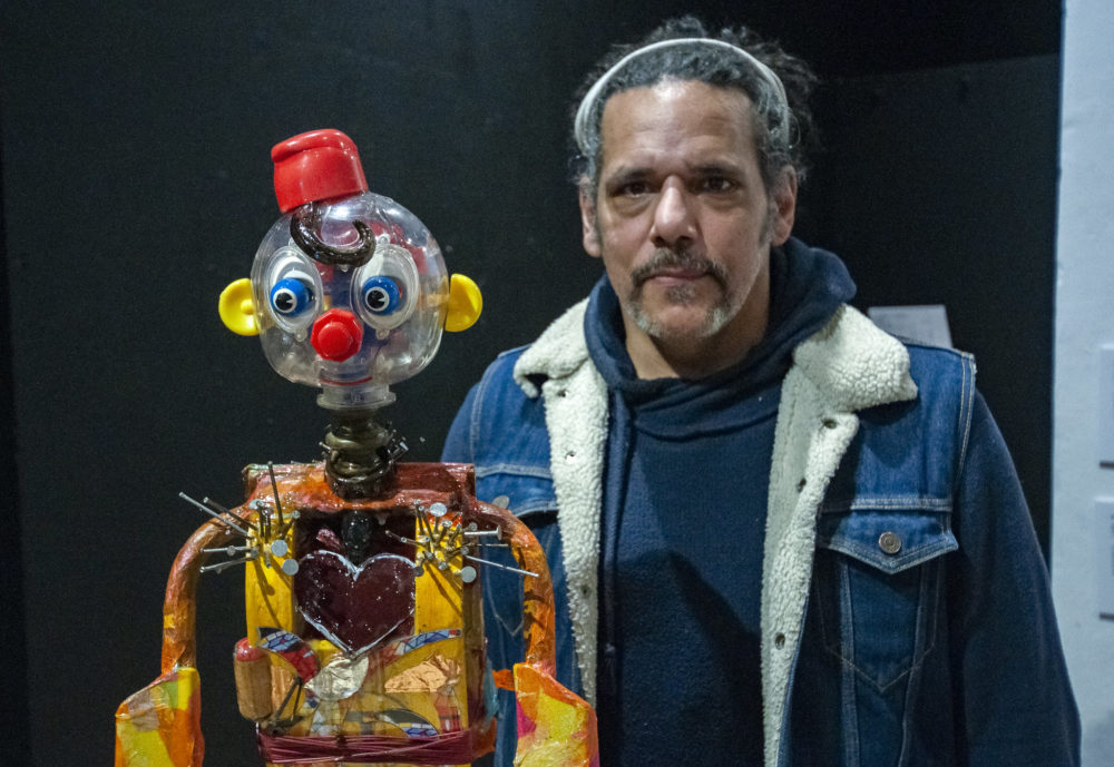 """Chicago artist E. Nix's self-portrait is a sculpture subtitled """"Pinnochio,"""" drawing on a childhood nickname. (Chris Bentley/Here & Now)"""