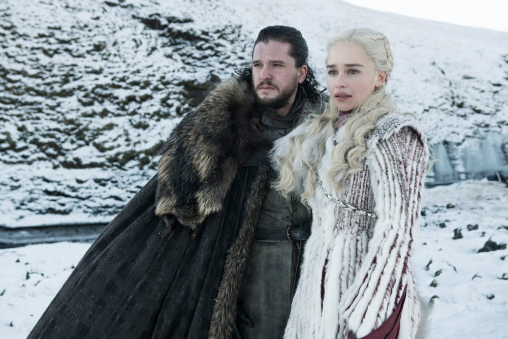 "Kit Harington and Emilia Clarke in ""Game of Thrones."" (Helen Sloane/HBO)"