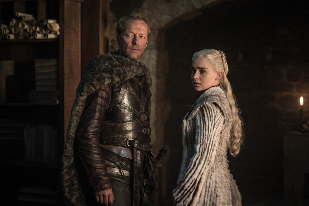 "Iain Glen and Emilia Clarke in ""Game of Thrones."" (Helen Sloane/HBO)"