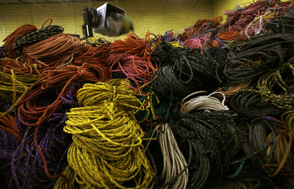 A huge pile of lobster rope is collected in a warehouse in Rockland, Maine, on Friday, March 27, 2009. (Pat Wellenbach/AP)