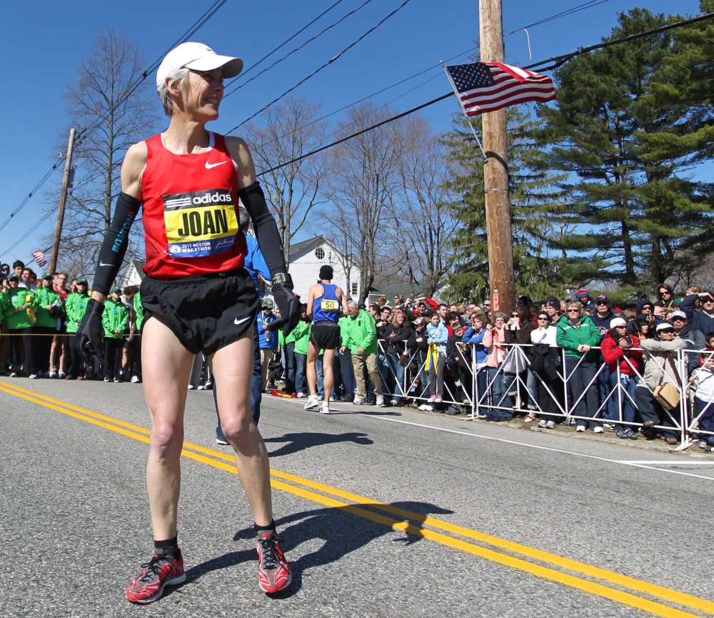 Boston Marathon legend Joan Benoit Samuelson warms up prior to the 2011 race. (Stew Milne/AP)