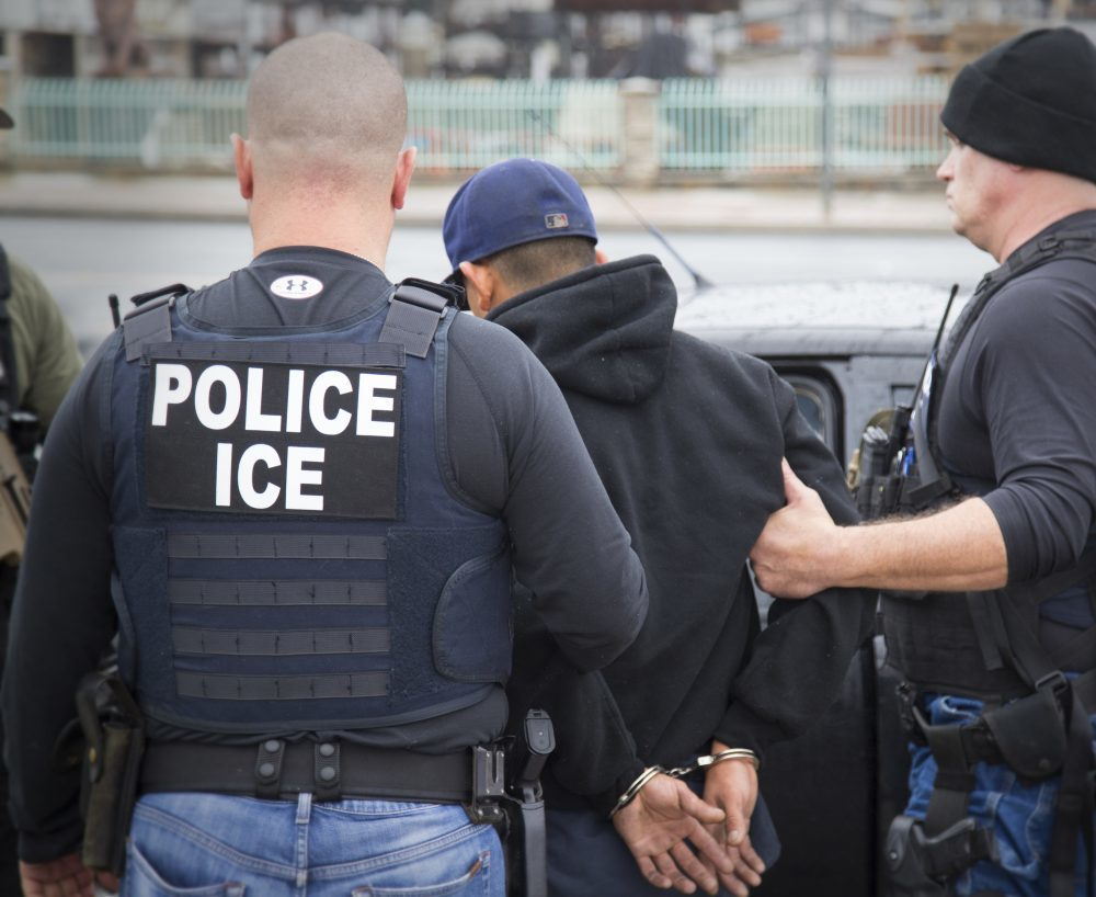 District Attorneys Rachael Rollins and Marian Ryan, of Suffolk and Middlesex counties, respectively, are among those filing a lawsuit that seeks to bar Immigration and Customs Enforcement officers from making arrests at local courthouses. (Charles Reed/U.S. Immigration and Customs Enforcement via AP)