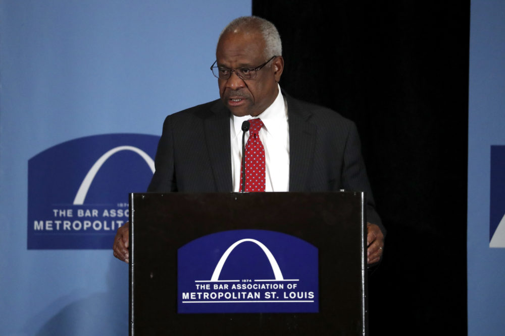 U.S. Supreme Court Justice Clarence Thomas delivers remarks at the Bar Association of Metropolitan St. Louis Friday, May 5, 2017, in St. Louis. (Jeff Roberson/AP)