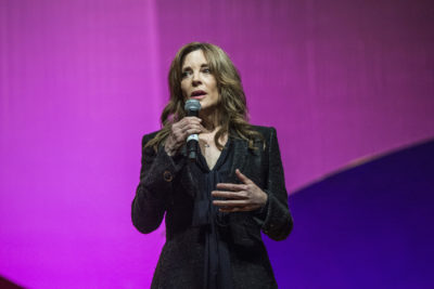 Marianne Williamson seen on day three of Summit LA17 in Downtown Los Angeles's Historic Broadway Theater District on Sunday, Nov. 5, 2017, in Los Angeles. (Amy Harris/Invision/AP)
