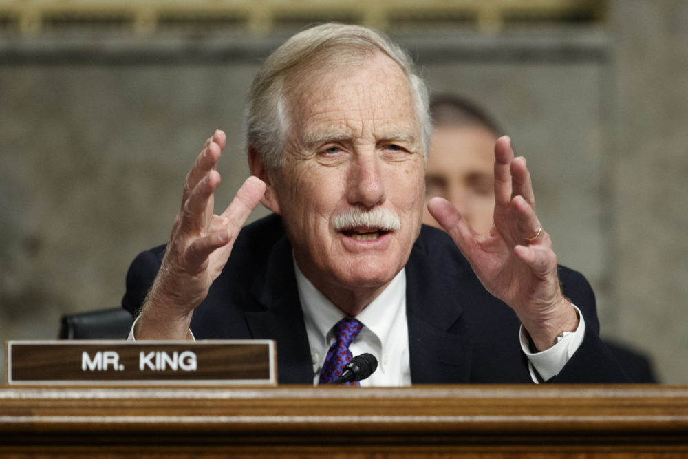 """Senate Armed Services Committee member, Sen. Angus King, I-Maine, speaks during a Senate Armed Services Committee hearing on """"Nuclear Policy and Posture"""" on Capitol Hill in Washington, Thursday, Feb. 29, 2019. (Carolyn Kaster/AP)"""