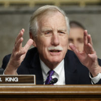 "Senate Armed Services Committee member, Sen. Angus King, I-Maine, speaks during a Senate Armed Services Committee hearing on ""Nuclear Policy and Posture"" on Capitol Hill in Washington, Thursday, Feb. 29, 2019. (Carolyn Kaster/AP)"