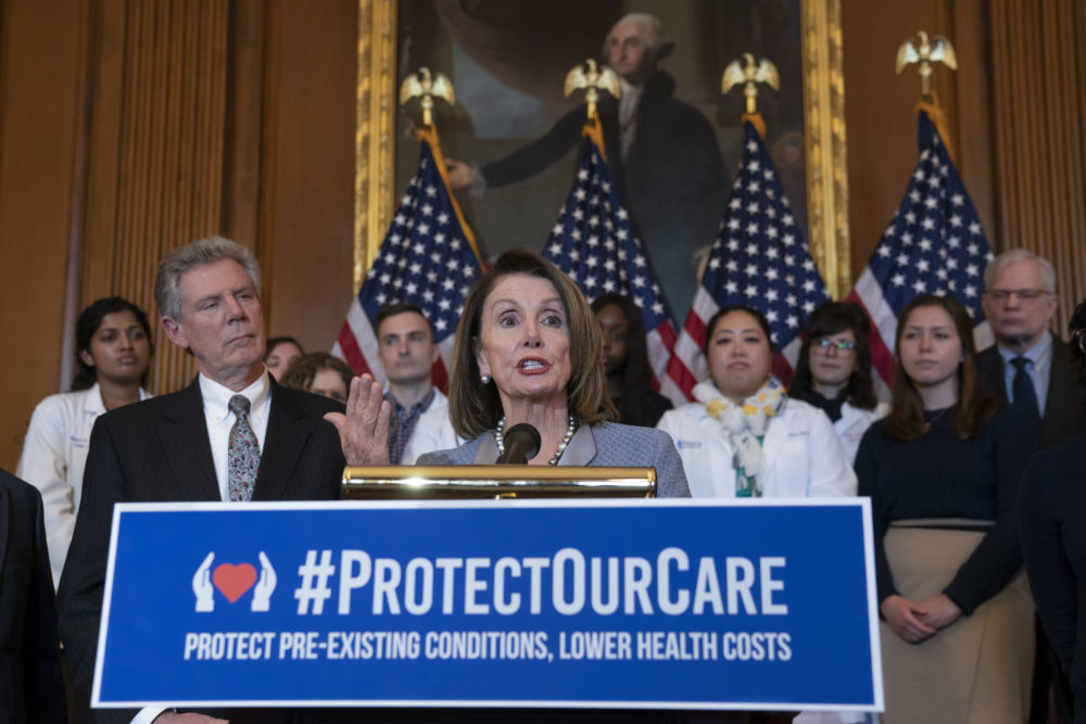 House Speaker Nancy Pelosi announces legislation to lower health care costs and protect people with pre-existing medical conditions in Washington on Tuesday, March 26, 2019. (J. Scott Applewhite/AP)