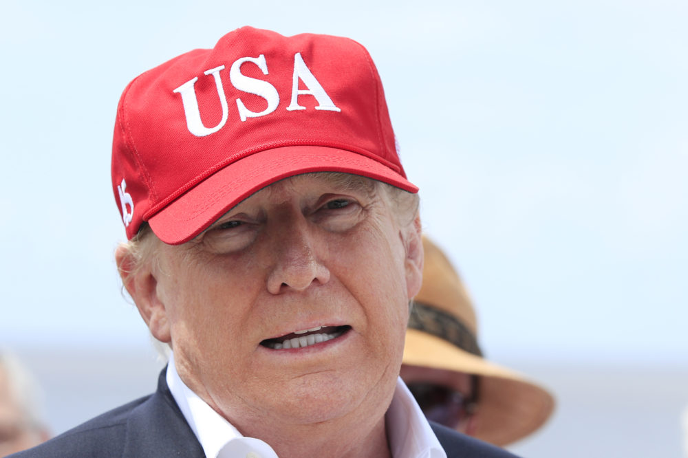 President Donald Trump speaks to reporters during a visit to Lake Okeechobee and Herbert Hoover Dike at Canal Point, Fla., Friday, March 29, 2019.  (Manuel Balce Ceneta/AP)