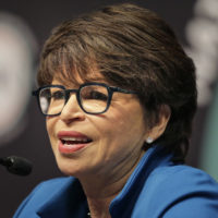 Valerie Jarrett, former senior advisor to President Obama, speaks during the National Action Network Convention in New York, Wednesday, April 3, 2019. (Seth Wenig/AP)
