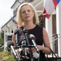 Homeland Security Secretary Kirstjen Nielsen talks outside her home in Alexandria, Va., on Monday, April 8, 2019. Nielsen says she continues to support the president's goal of securing the border in her first public remarks since her surprise resignation. (Kevin Wolf/AP)