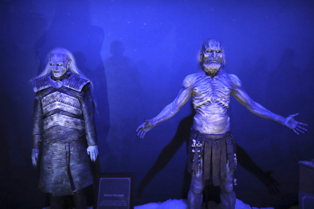 White Walkers on display during the launch of The Game of Thrones Touring Exhibition at the Titanic Exhibition centre in Belfast, Northern Ireland, Wednesday, April 10, 2019. (AP)