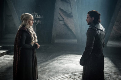 "This photo provided by HBO shows Emilia Clarke as Daenerys Targaryen and Kit Harington as Jon Snow in a scene from HBO's ""Game of Thrones.""  The final season premieres on Sunday. (Helen Sloan/Courtesy of HBO via AP)"