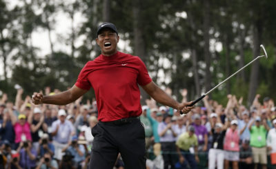 Tiger Woods reacts as he wins the Masters golf tournament Sunday, April 14, 2019, in Augusta, Ga. (David J. Phillip/AP)