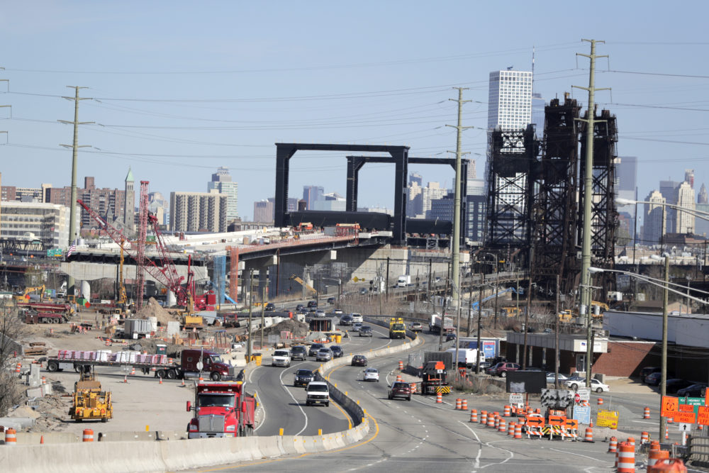 A general view of the construction site of the new Route 7 drawbridge, Wednesday, April 17, 2019, in Kearny, N.J. (Julio Cortez/AP)