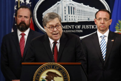 Attorney General William Barr speaks alongside Deputy Attorney General Rod Rosenstein, right, and acting Principal Associate Deputy Attorney General Edward O'Callaghan, left, about the redacted version of special counsel Robert Mueller's report on Thursday, April 18, 2019. (Patrick Semansky/AP)