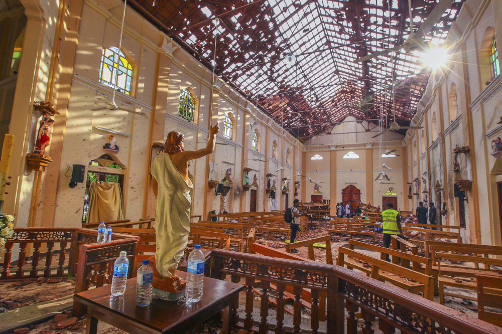 In this Sunday, April 21, 2019, a view of St. Sebastian's Church damaged in blast in Negombo, north of Colombo, Sri Lanka. (Chamila Karunarathne, file/AP)