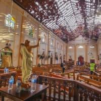 In this Sunday, April 21, 2019, a view of St. Sebastian's Church damaged in blast in Negombo, north of Colombo, Sri Lanka. (Chamila Karunarathne, file/AP)