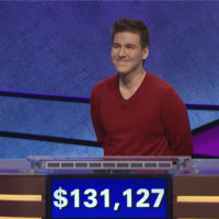 """This file image made from video and provided by Jeopardy Productions, Inc. shows """"Jeopardy!"""" contestant James Holzhauer on an episode that aired on April 17, 2019. (Jeopardy Productions, Inc. via AP)"""