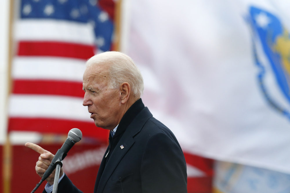 Former Vice President Joe Biden spoke at a rally in support of striking Stop & Shop workers in Boston in April. (Michael Dwyer/AP)