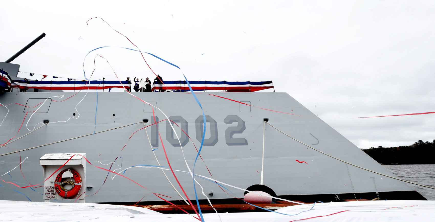 The Lyndon B. Johnson, the third Zumwalt-class guided missile destroyer, is seen during a christening ceremony at Bath Iron Works, Saturday, April 27, 2019, in Bath, Maine. (Robert F. Bukaty/AP)