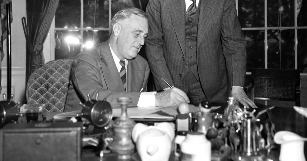 The census taker knocked and was received by President Franklin D. Roosevelt who went on record as answering all the questions on the large sheet on April 2, 1940. (AP Photo)