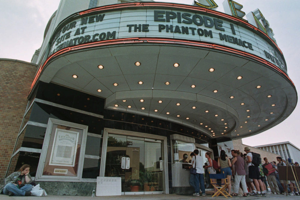 "Crowds of over 500 people stood in line for ""Star Wars"" tickets that went on sale Wednesday, May 12, 1999 at The Senator theatre in Baltimore for the premier of ""The Phantom Menace."" (Gail Burton/AP)"