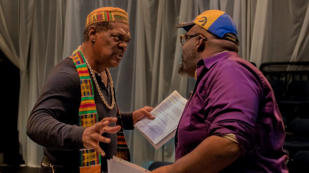 "Johnny Lee Davenport and Cliff Odle rehearse for a Front Porch Arts Collective reading in 2017. Davenport will be Great Grand Daddy Deus in ""black odyssey boston."" (Courtesy Front Porch Arts Collective)"