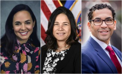 From left: the three finalists for Boston Public Schools superintendent: Marie Izquierdo, chief academic officer, Miami-Dade County Public Schools in Florida; Dr. Brenda Cassellius, recent Minnesota commissioner of education; and Dr. Oscar Santos, head of school at Cathedral High School in Boston.