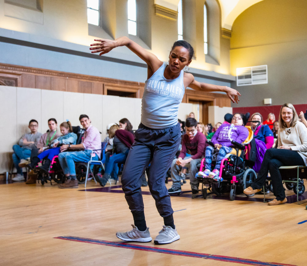 Samantha Figgins performs for students at Kennedy Day School in Brighton. (Courtesy Robert Torres)