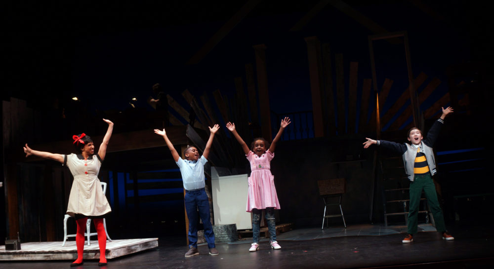 Noah (Ben Choi-Harris, right) imagines himself part of Caroline's family, played by Kira Troilo, Mark Johnson and Razan Mohamed. (Courtesy Sharman Altshuler)