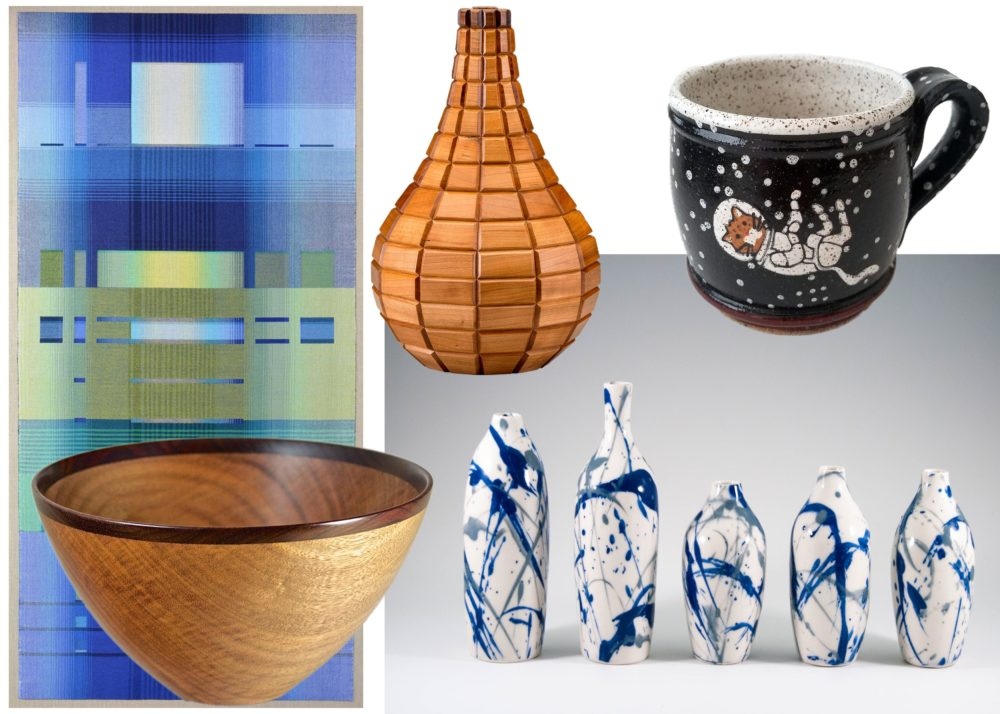 Clockwise from top left: Creations by Tanzer's Fiberworks, Wood Creations by Richard Nolan, Coywolf Studio, K. Allison Ceramics, Eric Reeves. (Courtesy Society of Arts + Crafts)