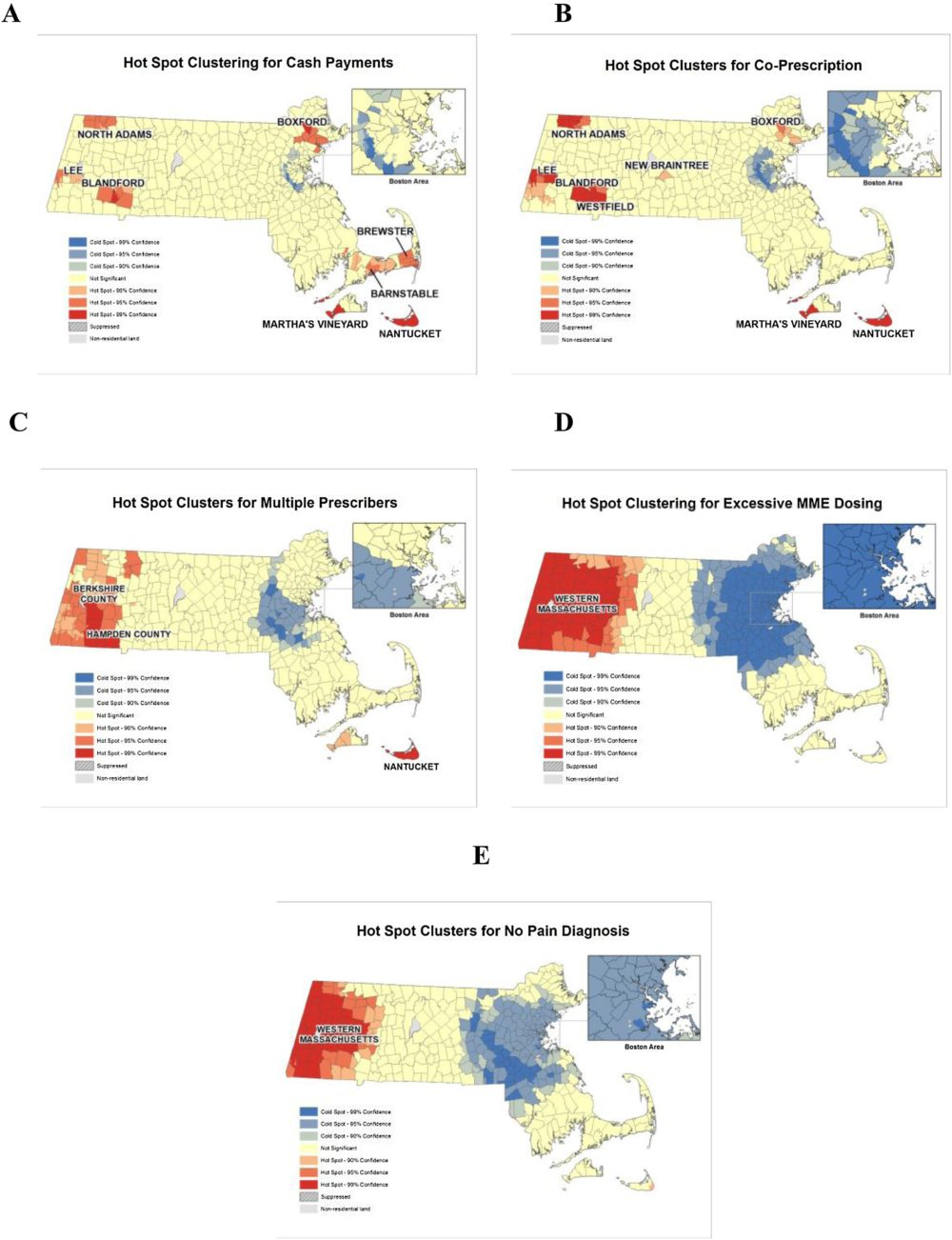Clustering of potentially inappropriate opioid prescription practices (PIP) in Massachusetts from 2011 to 2015. (Courtesy the International Journal of Drug Policy)