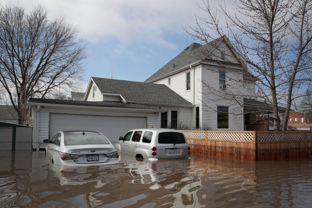 A home sits in floodwater on March 20, 2019 in Hamburg, Iowa. (Scott Olson/Getty Images)