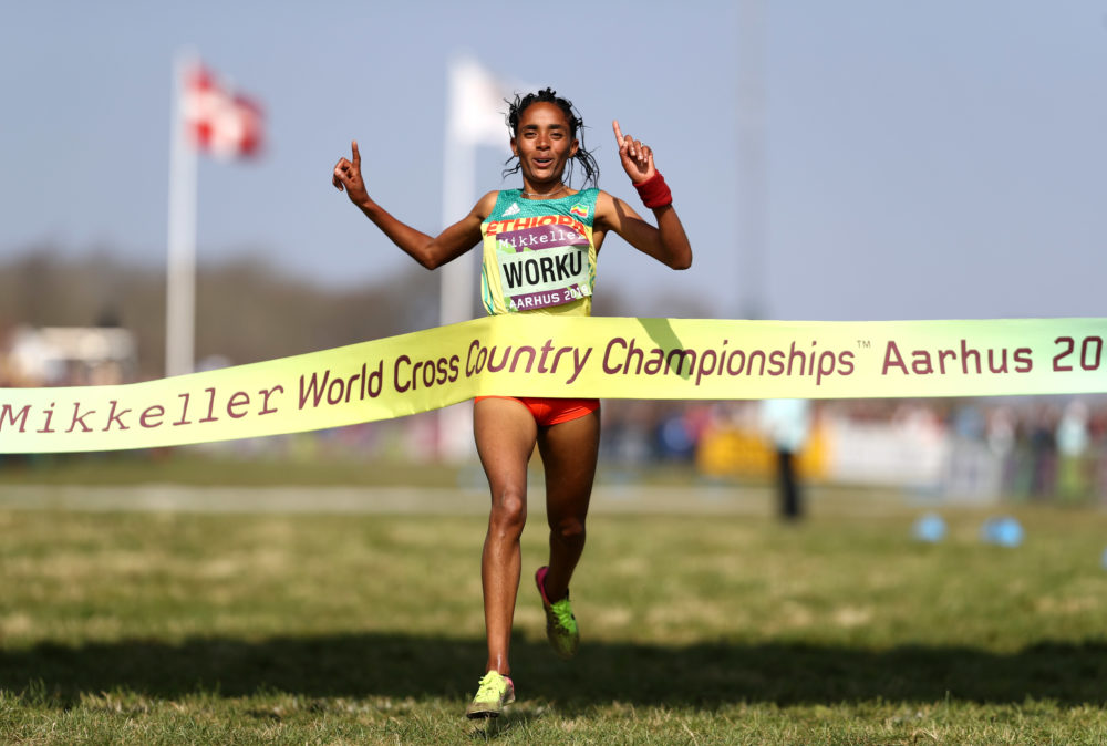 Fantu Worku of Ethiopia crosses the line to win the 4x2k mixed relay during the IAAF World Athletics Country Championships. (Bryn Lennon/Getty Images)