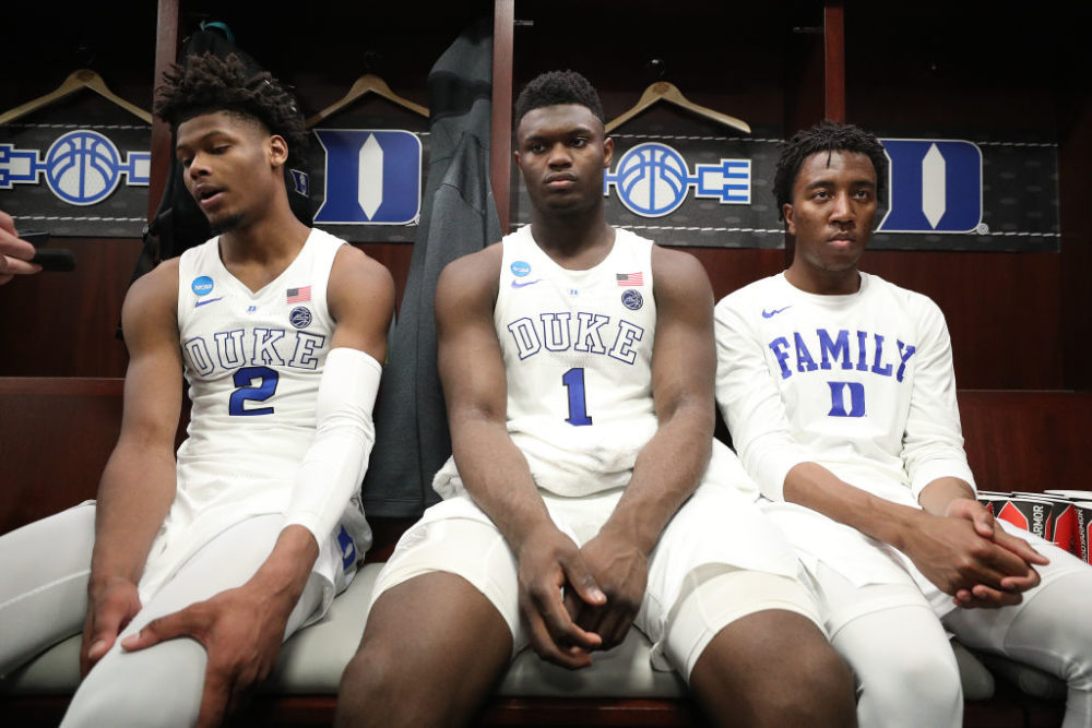 Duke players after losing to Michigan State in the 2019 Elite Eight. (Patrick Smith/Getty Images)