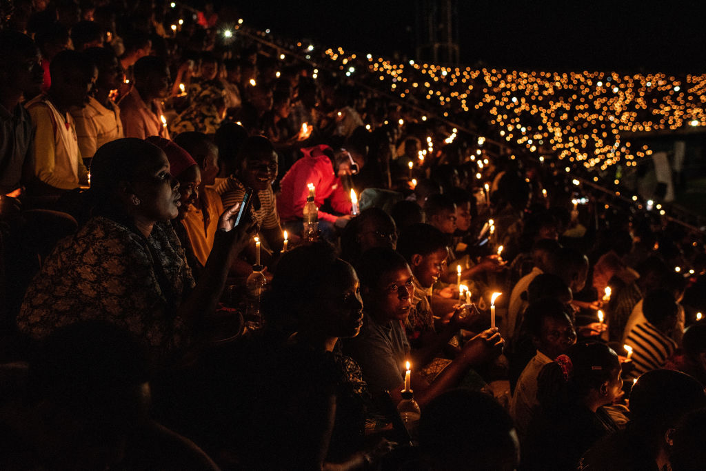 Rwandans in Kigali commemorate the 25th anniversary of the genocide. (Andrew Renneisen/Getty Images)