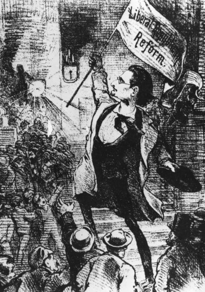 "Joseph Pulitzer is shown in a cartoon as the ""Leader of Liberal Republicanism"" in the St. Louis ""Puck"" on March 30, 1872. (Hulton Archive/Getty Images)"