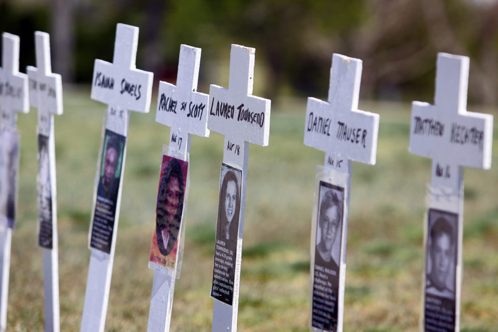 Miniature crosses are displayed to commemorate the 10-year anniversary of the Columbine High School shootings at Clement Park on April 20, 2009, in Littleton, Colo. (Marc Piscotty/Getty Images)