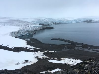 The Collins glacier on King George Island has retreated in the last 10 years and shows signs of fragility, in the Antarctic on Feb. 2, 2018. (Mathilde Bellenger/AFP/Getty Images)