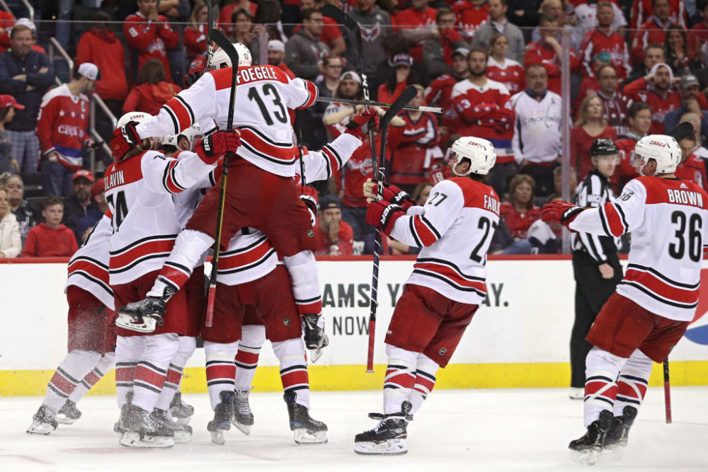 The Carolina Hurricanes celebrate the series-winning goal against the Washington Capitals, the 2018 Stanley Cup champions.  (Patrick Smith/Getty Images)