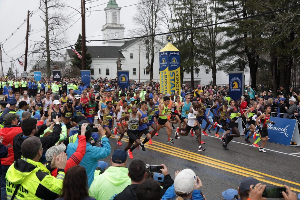 The elite men begin the race. (Robin Lubbock/WBUR)